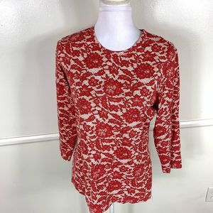 J. McLaughlin Red Lace Print Top Large